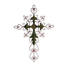 "28"" Tall Metal Cross Wall Art in Green"