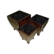 Three Piece Tapered Planter Set in Antique Bronze