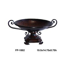 Round Metal Bowl on Stand with Hammered Look