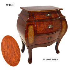 Wooden 3 Drawer Curved Cabinet with Scoop Handles