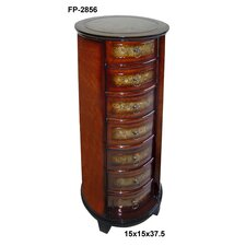 Wooden Tall Round 7 Drawer Chest with Ring Handles