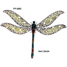 Metal Wall Dragonfly with Flower Press Cut Out Design
