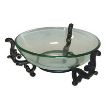 Round Deep Glass Bowl on Low Metal Stand