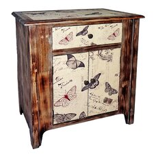 Wooden Butterfly 1 Drawer Cabinet