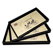 Rectangular Tray with Carriage (Set of 3)