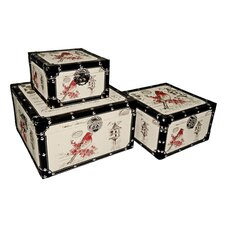 Square Trunk with Red Bird (Set of 3)