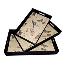 Rectangular Tray with Butterflies (Set of 3)