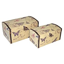 Rectangular Butterfly Box with Vinyl Trim (Set of 2)