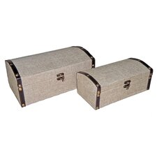 Round Top Box in Plain Linen (Set of 2)