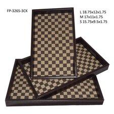 Checker Rectangular Serving Tray (Set of 3)