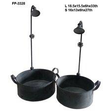 Metal 2 Piece Watering Nozzle Bucket