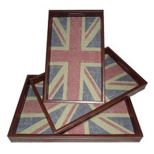 Union Jack Rectangle Serving Tray (Set of 3)