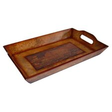 Wooden Rectangular Tray with Marble Design in Brown