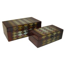 Wooden Book Box with Diamond Pattern (Set of 2)