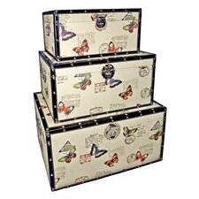 Trunks with Butterflies (Set of 3)