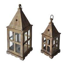 2 Piece Wooden Decorative Lantern Set