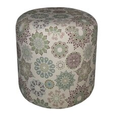 Round Padded Kaleidoscope Patterned Ottoman