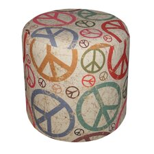 Round Padded Peace Sign Patterned Ottoman