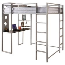 Abode Full Loft Bed with Desk and Bookshelves
