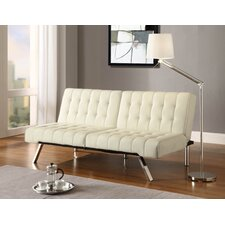 Emily Vanilla Faux Leather Convertible Futon