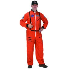 Adult Astronaut Suit, with Embroidered Cap Costume in Orange