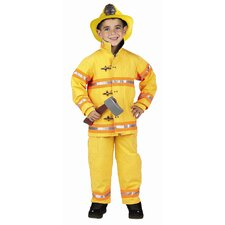 Jr. Fire Fighter Suit Costume in Yellow