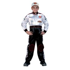 Jr. Champion Racing Suit with Cap Costume in Black / White