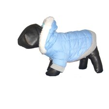 Metallic Dog Parka Sport Quilt Hood in Blue Sky
