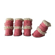 Duggz Snuggly Shearling Dog Boots in Pink and White