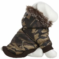 Metallic Dog Parka with Removable Hood