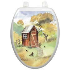 Themes Watercolor Outhouse Toilet Seat Decal