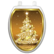 Holiday Gold Christmas Tree Toilet Seat Decal