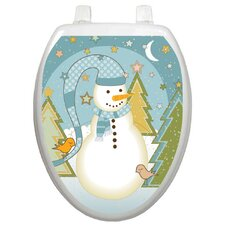 Holiday Folk Snowman Toilet Seat Decal