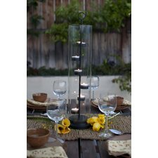 Tower Iron and Glass Hurricane Candle Holder