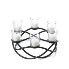 Round Waves Iron & Glass Candle Holder