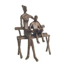 Mother and Child Reading in Cast Bronze