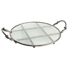 Textured Round Glass Serving Tray on Iron Stand