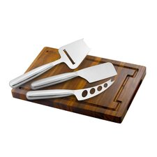 Acacia Wood Cheese Board with Knife Set