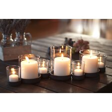 7 Piece Bubbles Iron and Glass Candle Holder Set
