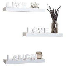 Decorative 3 Piece Live, Love, Laugh Wall Shelf Set