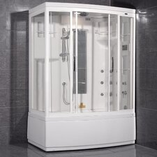 Aromatherapy Sliding Door Steam Shower with Bath Tub with Right Side Configuration