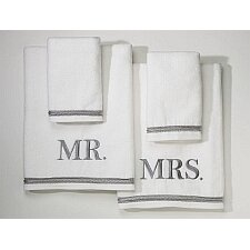 Mr. and Mrs. 4 Piece Towel Set
