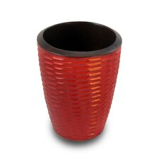 <strong>Enrico</strong> Casual Dining Utensil Vase in Brick Red and Dark Brown Lacquer