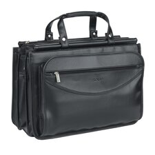 Classic Look Triple Compartment Leather Briefcase