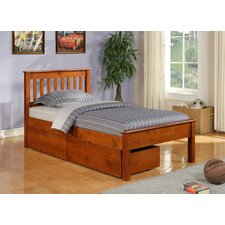 Donco Kids Twin Slat Bed with Dual Underbed Drawer