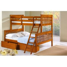 Donco Kids Twin Over Full Mission Bunk Bed with Tilt Ladder and Storage Drawers