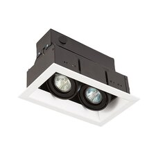 Two Light MR16 Square Multiple Trim with Transformer in Black