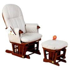 Deluxe Recliner Glider Chair with Stool in Walnut