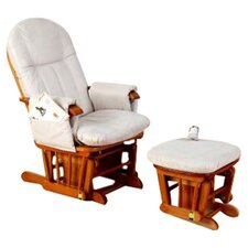 Deluxe Recliner Glider Chair with Stool in Antique Pine