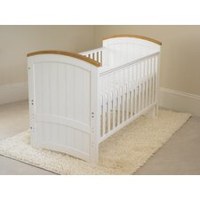 Barcelona Convertible Dropside Cot in Beech/White